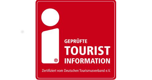 Logo i-Marke, weißes I auf rotem Grund