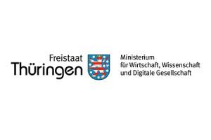 Wappen Thüringens mit Schriftzug Freistaat Thüringen und Bezeichnung des Wirtschaftsministeriums