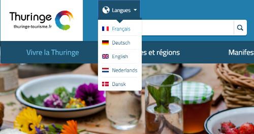 Screenshot Webpräsenz Thüringer Tourismus
