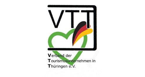 Logo VTT mit Schriftzug Verband der Tourismusunternehmen Thüringen e.V.