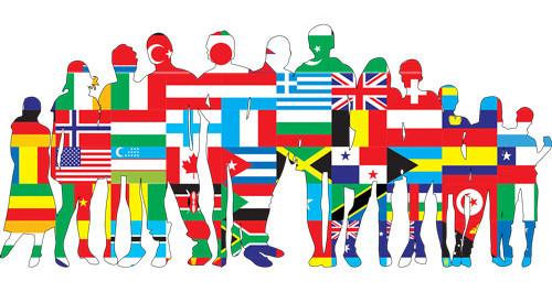Menschen in der Siluette dargestellt mit Flaggen der Nationen
