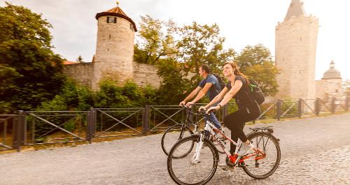 Radfahrer auf dem Unstrutradweg