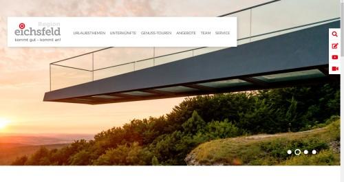 Neuer Internetauftritt des HVE Eichsfeld Touristik mit Bild vom Skywalk am Sonnenstein