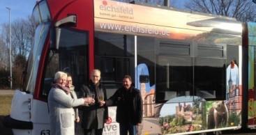Eichsfeld-Werbung auf Erfurter Straßenbahn