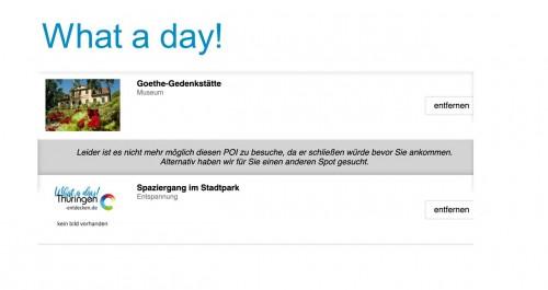 Beispielhinweis zur Tagesgestaltung in der App What a day!