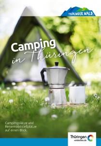 Auf dem Cover der Campingkarte Thüringen ist im Vordergrund eine Kaffeekanne zu sehen.