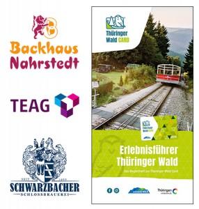 Im linken Bildbereich sind die drei Logos von Backhaus Nahrstedt, der Thüringer Energie AG und der Schwarzbacher Schlossbrauerei zu sehen. Im rechten Bildbereich ist das Titelbild des Erlebnisführers Thüringer Wald dargestellt. Man sieht die Oberweißbacher Bergbahn.