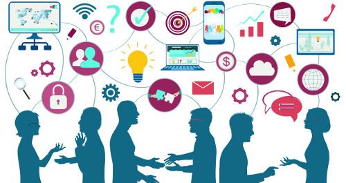 Graphik mit Menschen und Elementen zum Thema Digitalisierung