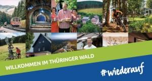 Dargestellt ist hier eine Collage von ausgewählten Bildmotiven von Leistungsträgern aus dem Thüringer Wald, im charakteristischen Querbalken-Design der Facebook-Kampagne #wiederauf.