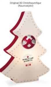 """Moderner Lichtfigur """"Weihnachtsbaum"""" in den Farben himbeerrot mit Masterkugel und Logo Weihnachtsland am Rennsteig"""