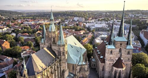 Blick von oben auf den Erfurter Dom