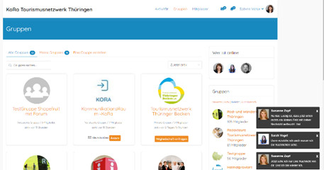 Screenshot mit Ansicht von Gruppen im KoRa