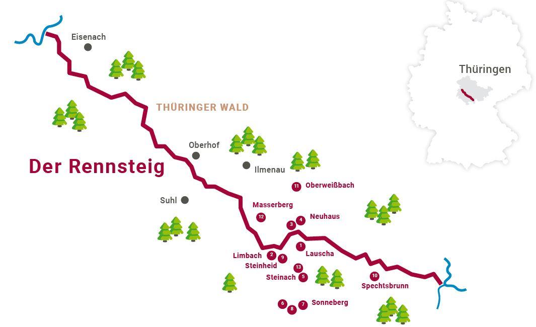 """Einfache Karte des Rennstiegs mit den zentralen Orten des """"Weihnachtsland am Rennsteig"""""""