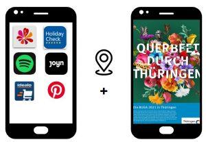 aufeinander verweisende Handydisplays mit dem Kampagnemotiv Blütencollage und einem Screen mit verschiedenen APP-symbolen
