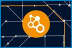 Grafik mit schwarzem Hintergrund und orangenem Kreis in dem Kreise mit Linien verbunden sind