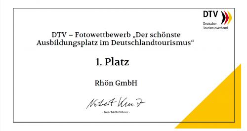 Urkunde 1.Platz Rhön GmbH